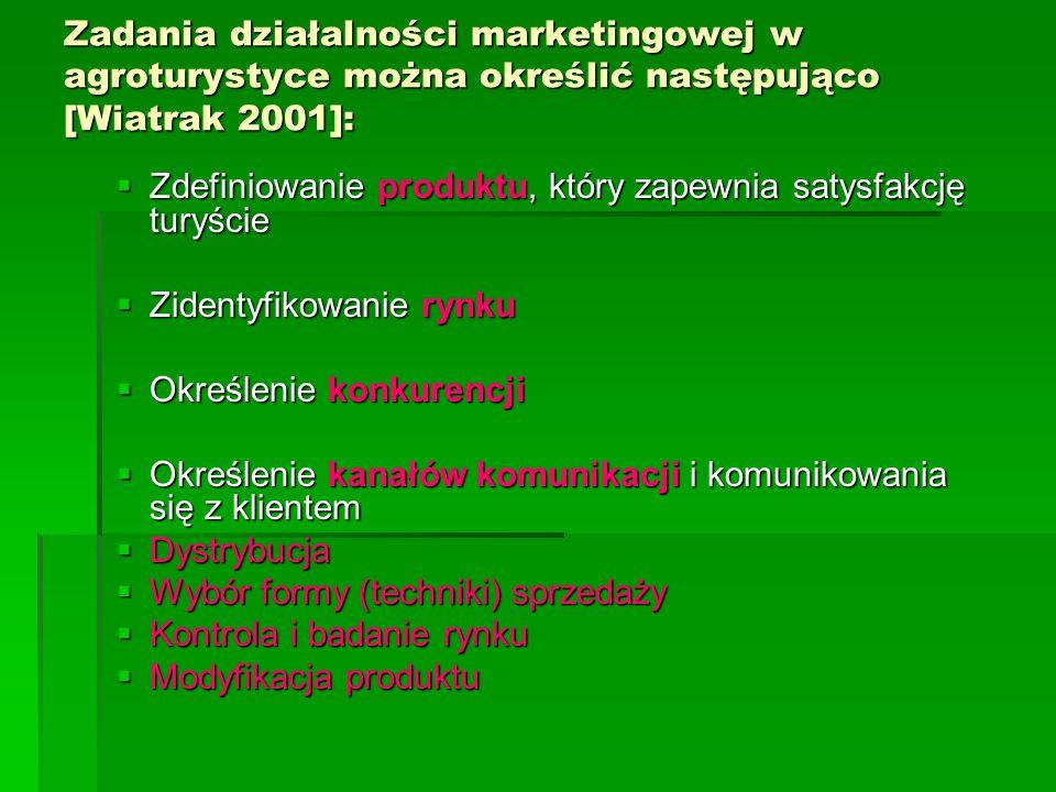 Zadania działalności marketingowej w agroturystyce można określić następująco [Wiatrak 2001]: